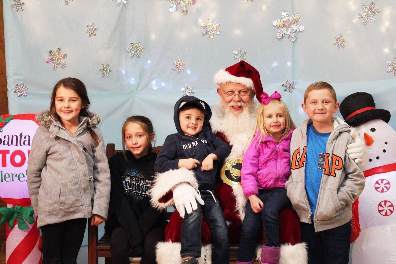 Santa with group of children