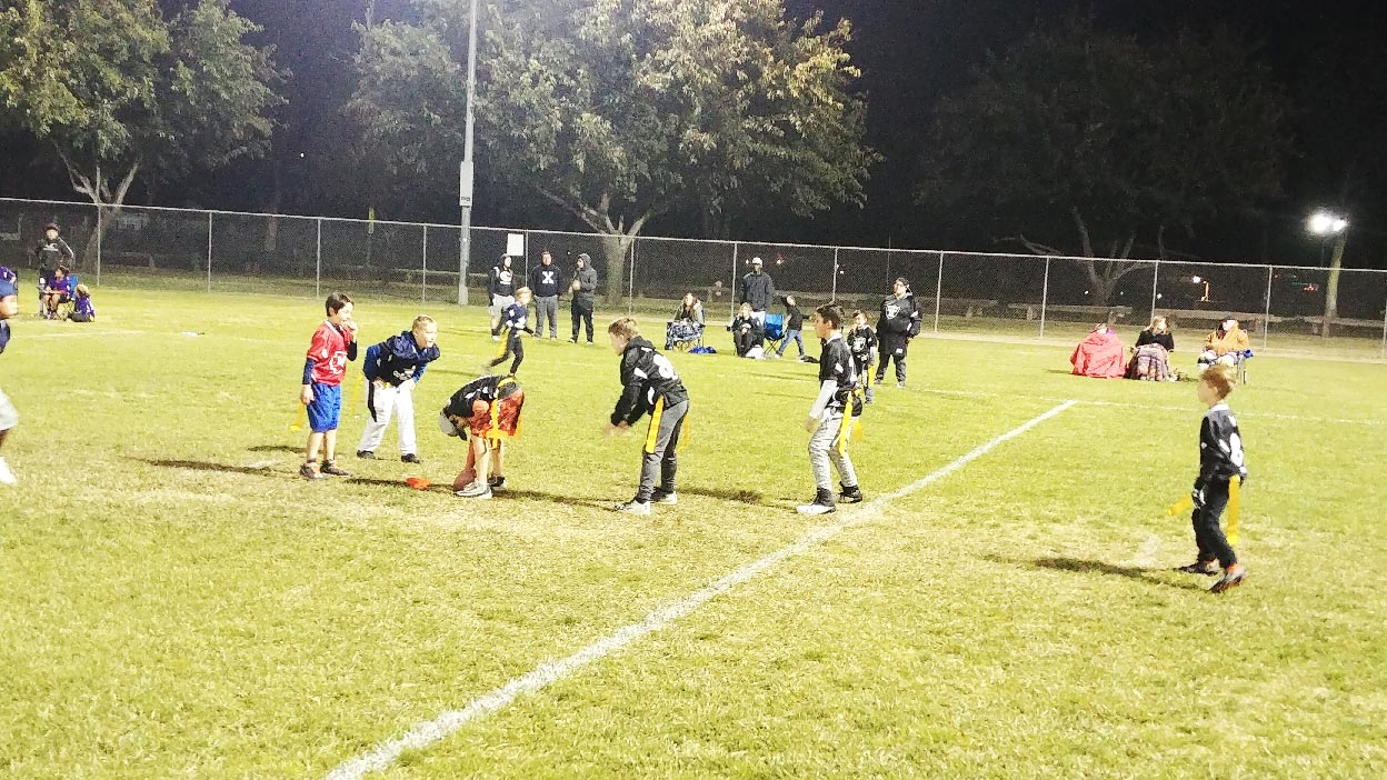 Youth Flag Football playing