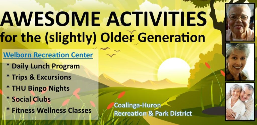 Awesome Activities for the slightly older generations Welborn Recreation Center. Daily lUnch Program Trips and excursions, Thursday Night Bingo Social Clubs Fitness Wellness classes