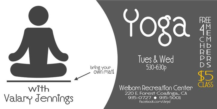 Yoga Tuesday and Wednesday 5:30pm to 6:30pm