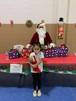 Santa with public