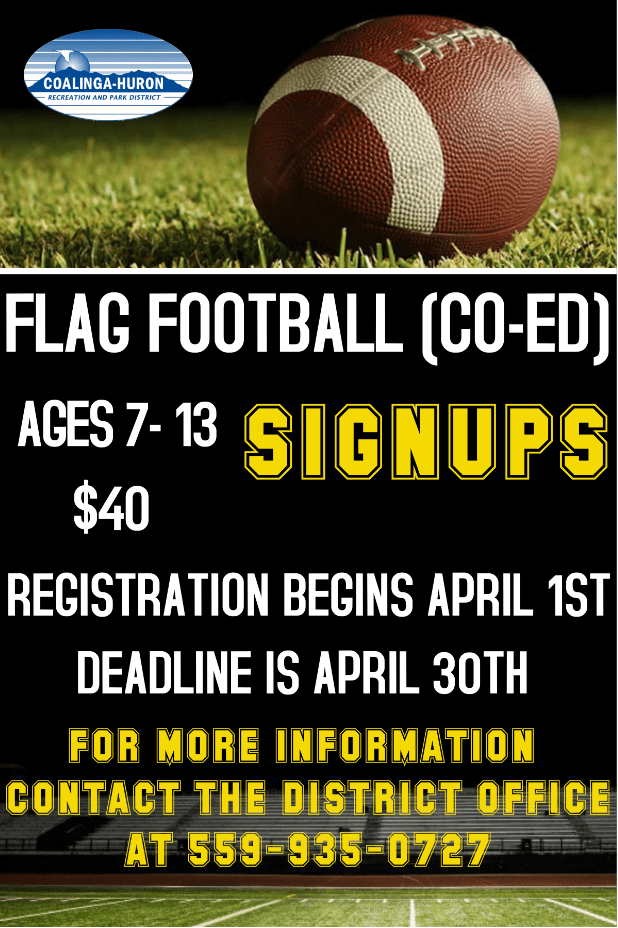 Coalinga Co-Ed Flag Football Flyer