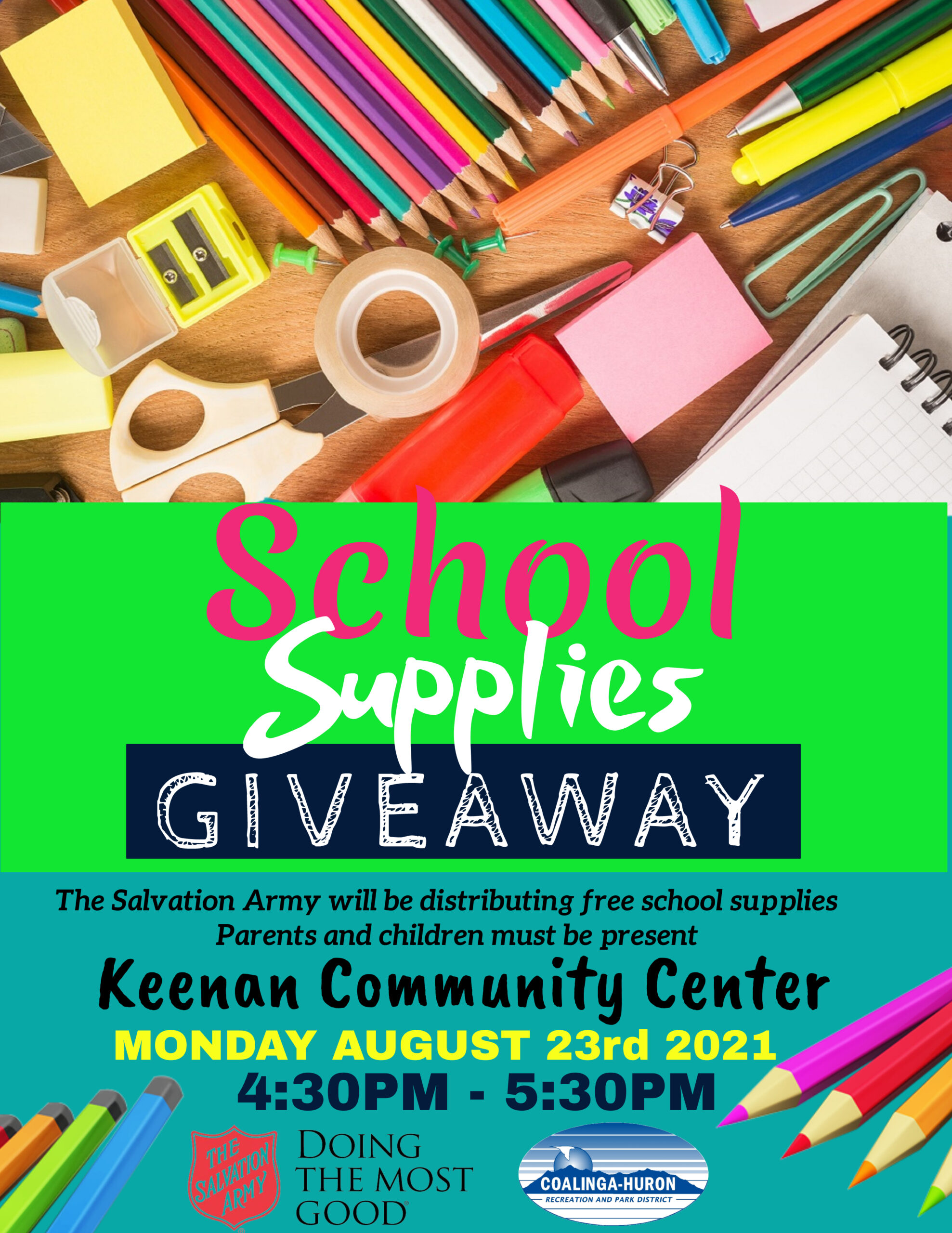 SALVATION ARMY SCHOOL SUPPLIES GIVEAWAY