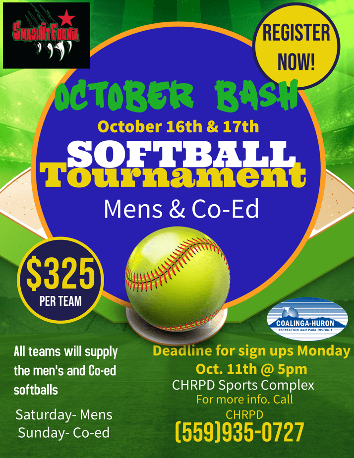 October Bash softball flyer